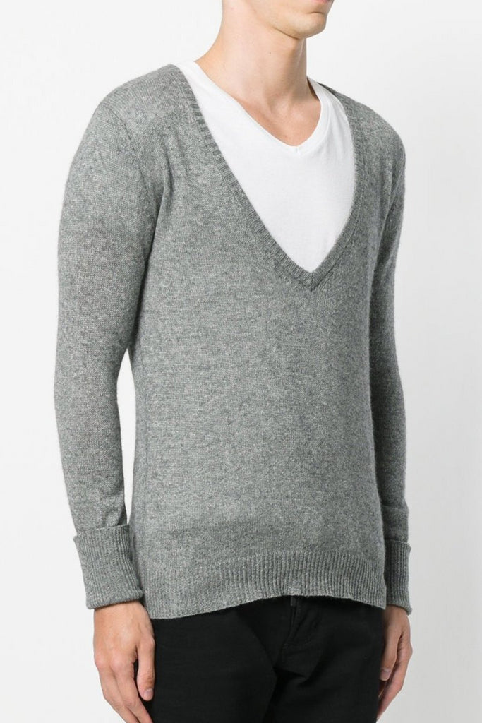 UNCONDITIONAL Black deep V-neck loose knit jumper.
