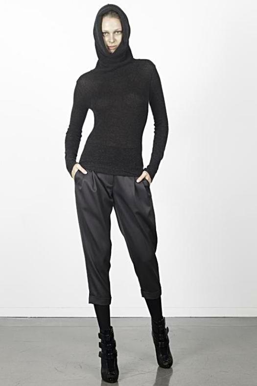 UNCONDITIONAL CHARCOAL SILK CASHMERE EXTREME FUNNEL NECK SWEATER