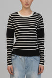 UNCONDITIONAL Cashmere mix Black | Ivory striped dinosaur tail sweater