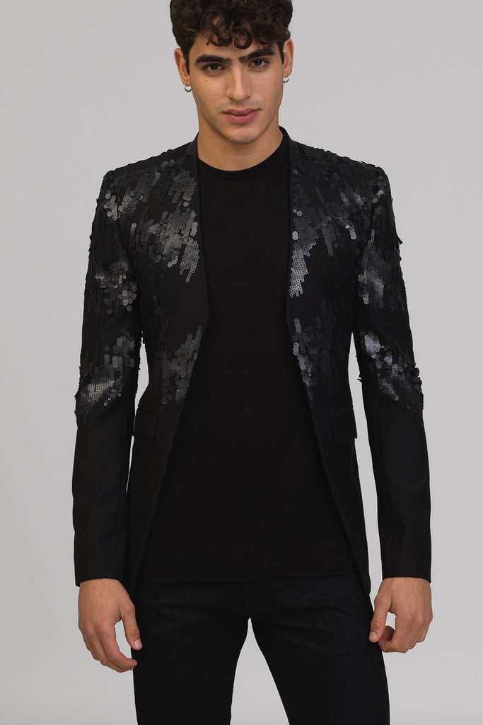 UNCONDITIONAL AW19 Black cutaway jacket with matt sequin embroidery