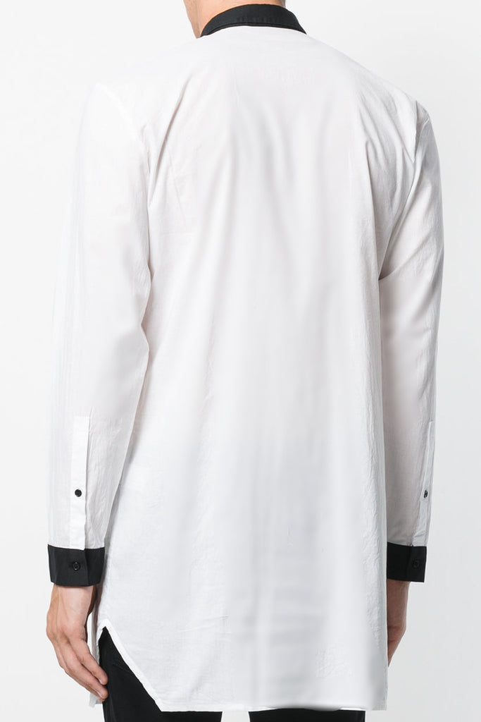 UNCONDITIONAL AW18 White with black long line cotton voile shirt