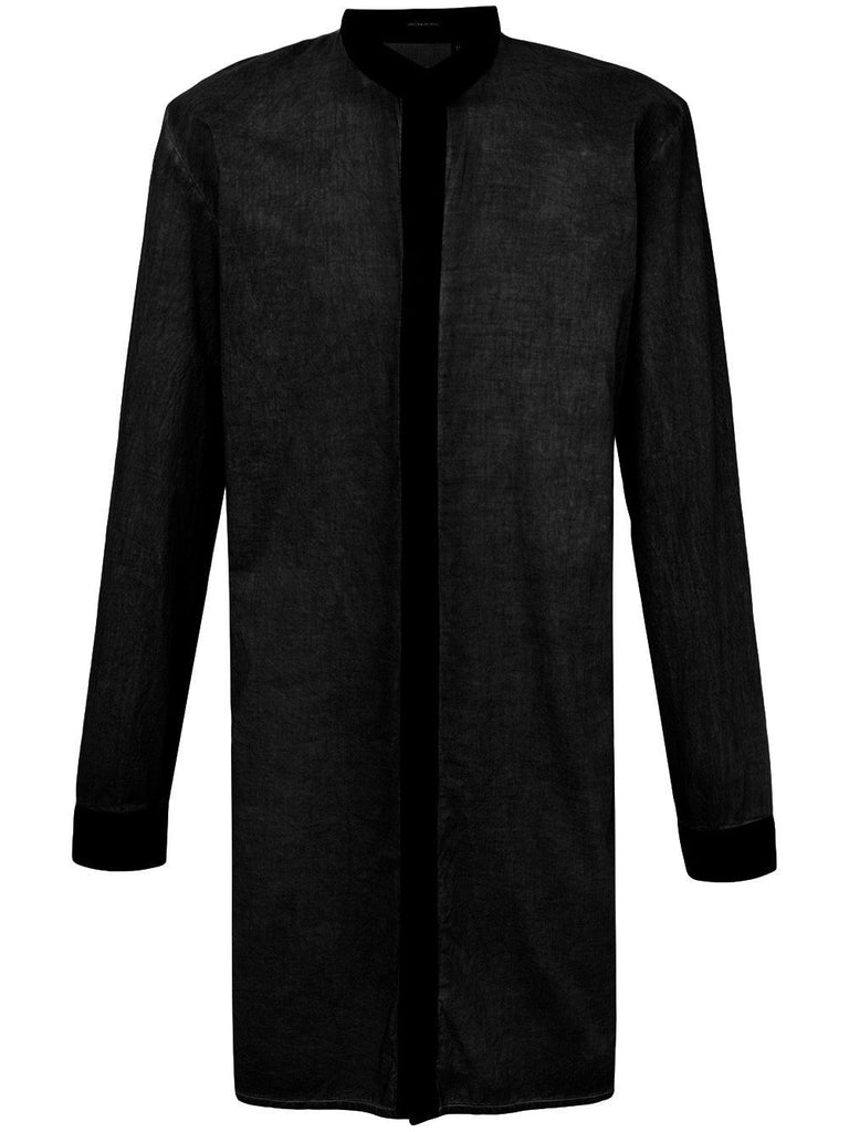 UNCONDITIONAL AW18 Black long cotton voile shirt