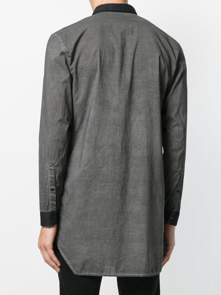 UNCONDITIONAL SS19 Military cold dye & Black long cotton voile shirt