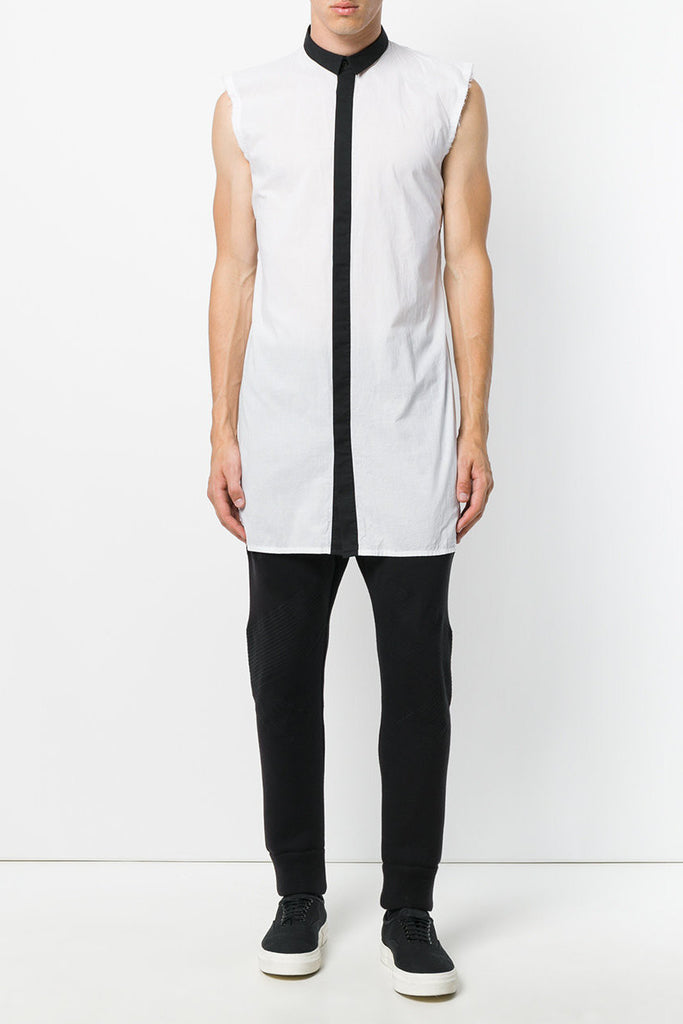 UNCONDITIONAL Black and white long line sleeveless cotton voile shirt