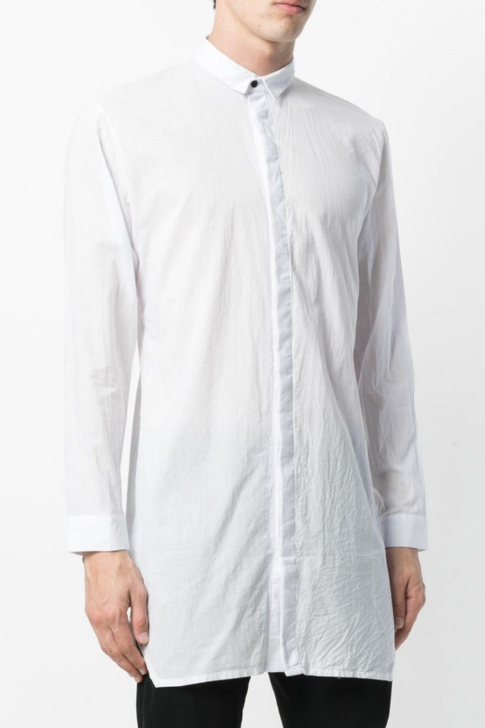 UNCONDITIONAL AW18 White long line cotton voile shirt