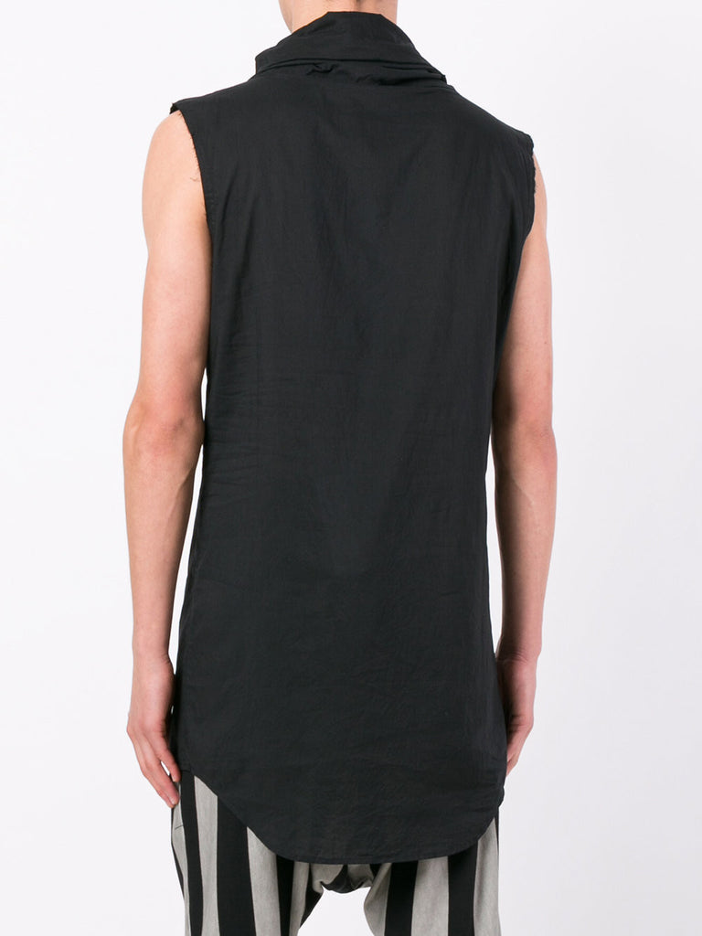 UNCONDITIONAL Black long line sleeveless funnel neck cotton shirt.