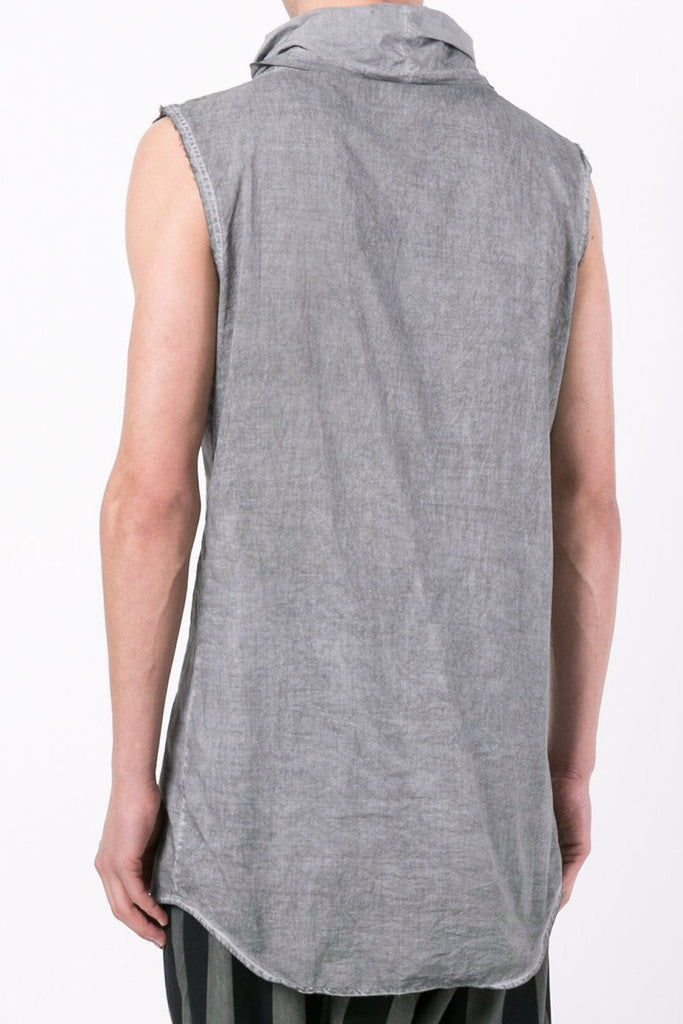 UNCONDITIONAL Military Cold Dye long line sleeveless funnel neck cotton shirt.