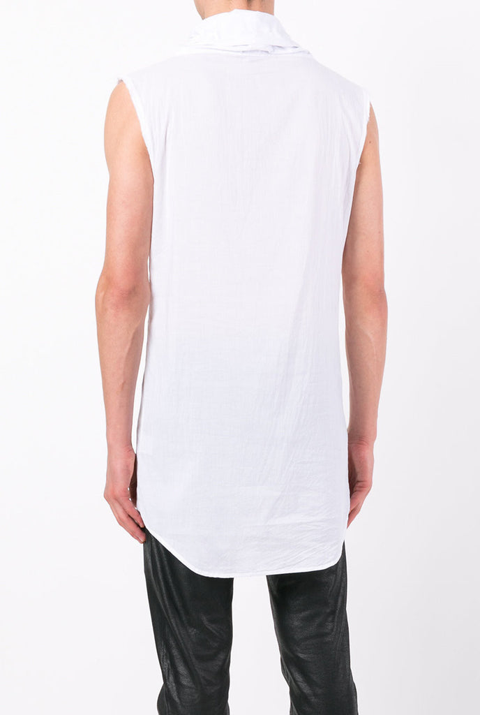 UNCONDITIONAL SS18 OPTICAL WHITE long line sleeveless funnel neck cotton shirt.