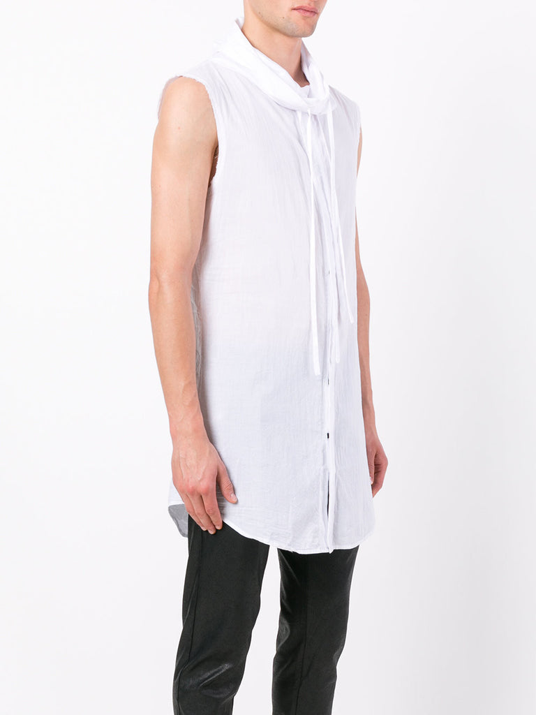 UNCONDITIONAL SS19 OPTICAL WHITE long line sleeveless funnel neck cotton shirt.