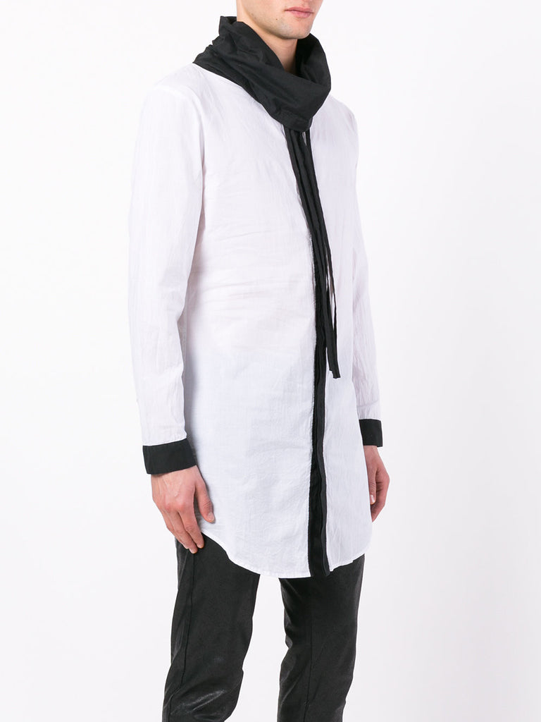 UNCONDITIONAL White | Black contrast long funnel neck shirt.
