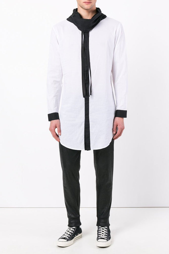 UNCONDITIONAL White | Black contrast long funnel neck shirt. SH05C-LONG