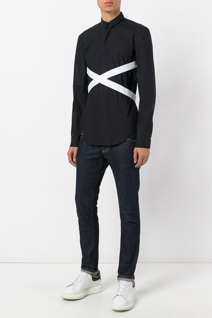 UNCONDITIONAL signature Black with white long sleeve bondage shirt.