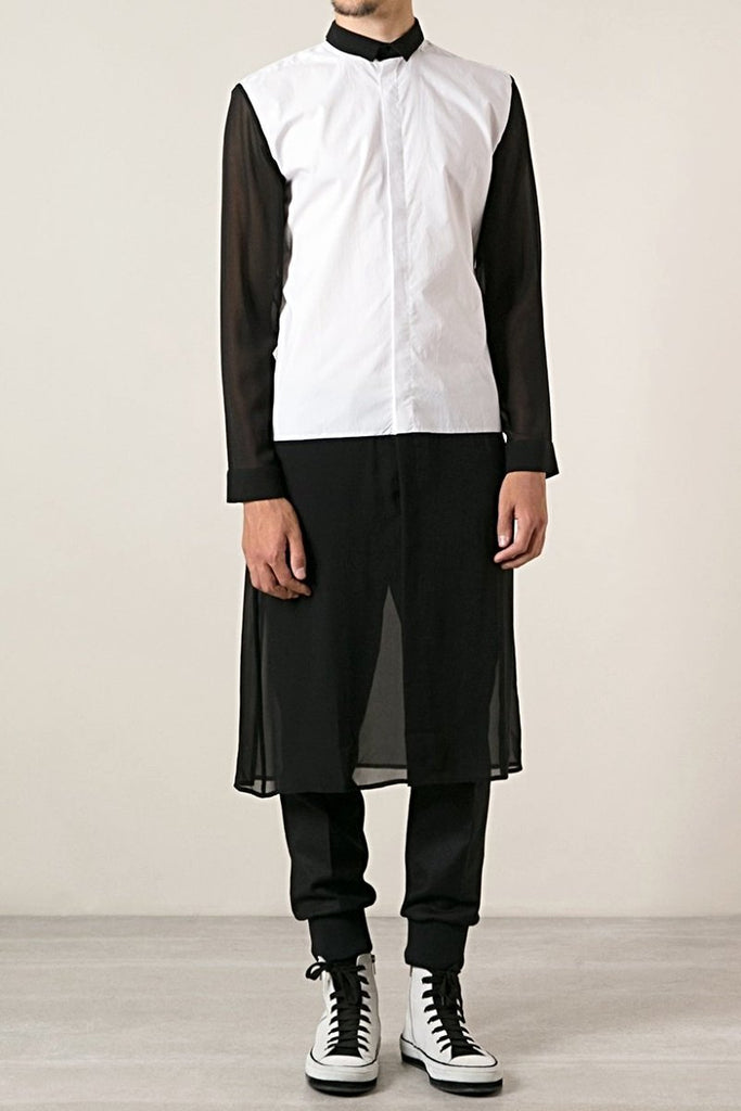 UNCONDITIONAL SS18 White long cotton shirt with black georgette contrasts