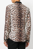 UNCONDITIONAL Matt silk crepe leopard print long sleeved shirt.