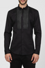 UNCONDITIONAL AW19 Black zip bib cotton shirt