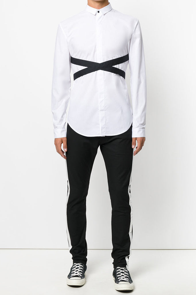 UNCONDITIONAL White and Black long sleeve bondage shirt.