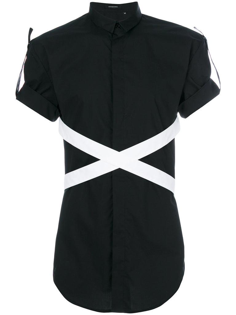 UNCONDITIONAL black and white short sleeve bondage shirt.