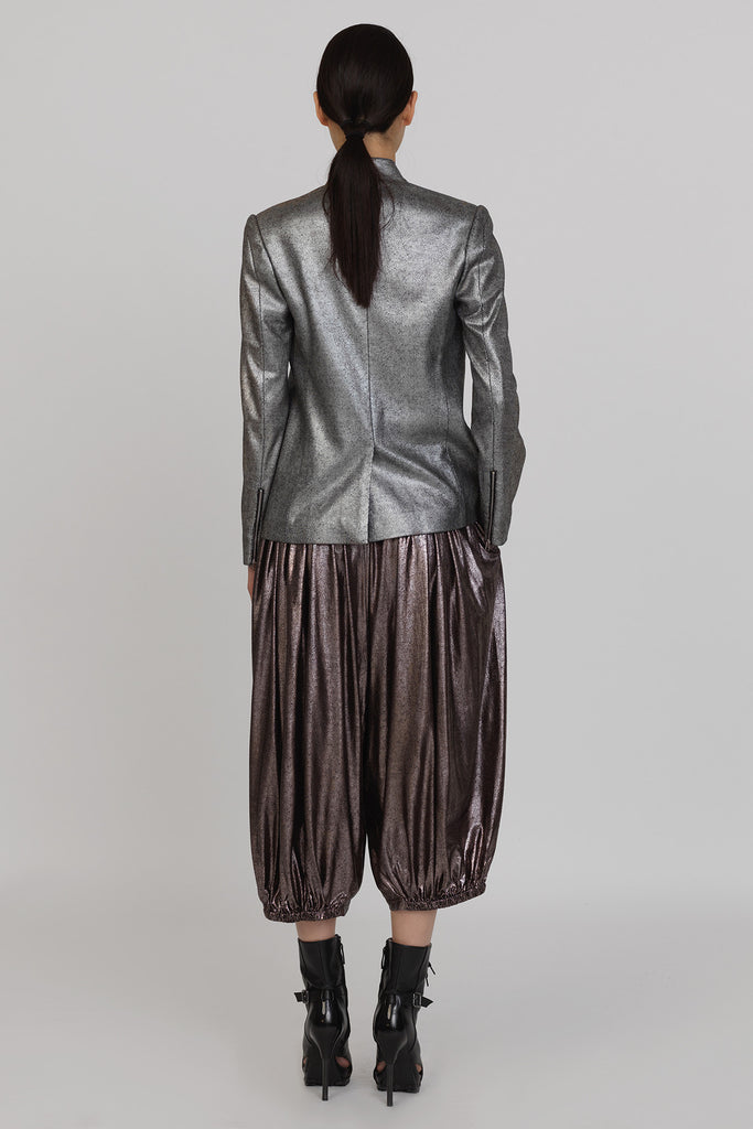 UNCONDITIONAL SS18 bronze foiled rayon harem pants