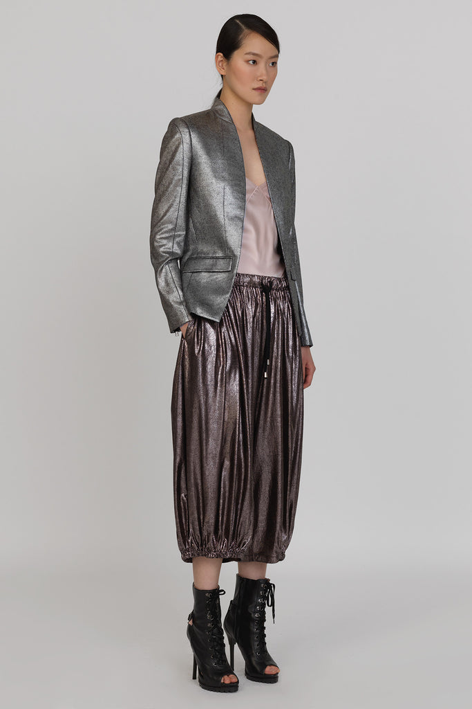 UNCONDITIONAL Bronze foiled rayon harem pants