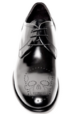 UNCONDITIONAL Black cordovan leather lace-up shoe with skull punch broguing detail