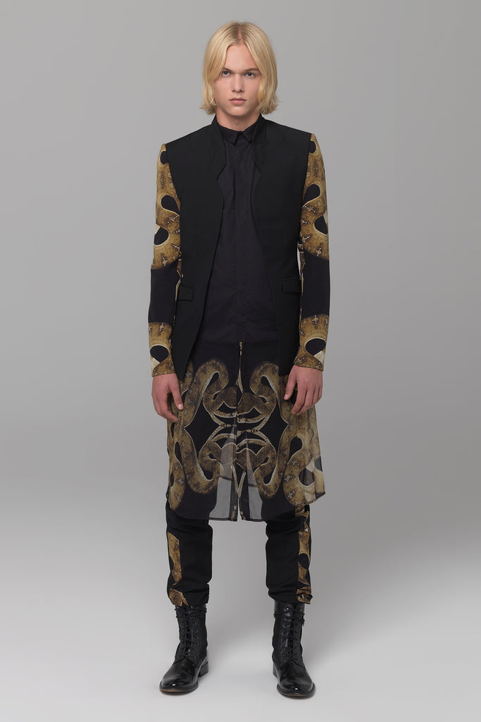UNCONDITIONAL Signature Notch collar jacket with snake silk crepe veiled sleeve