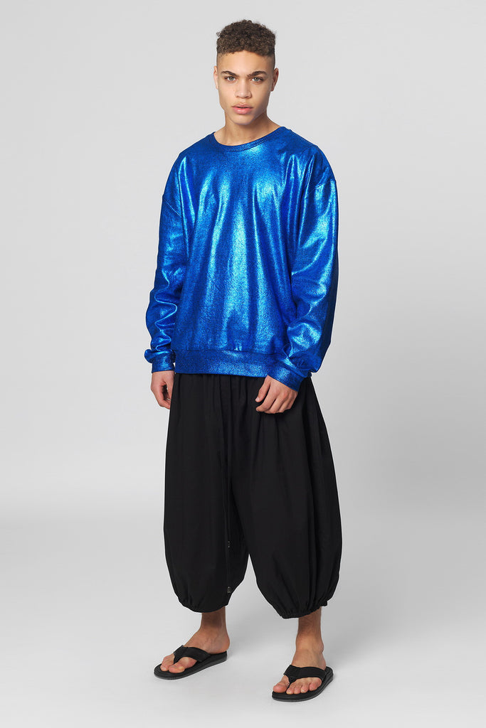 UNCONDITIONAL SS17 oversized blue foil cotton sweatshirt