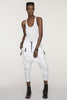UNCONDITIONAL white rayon asymmetric hem racer back vest with a raw cut hem . code : WR79