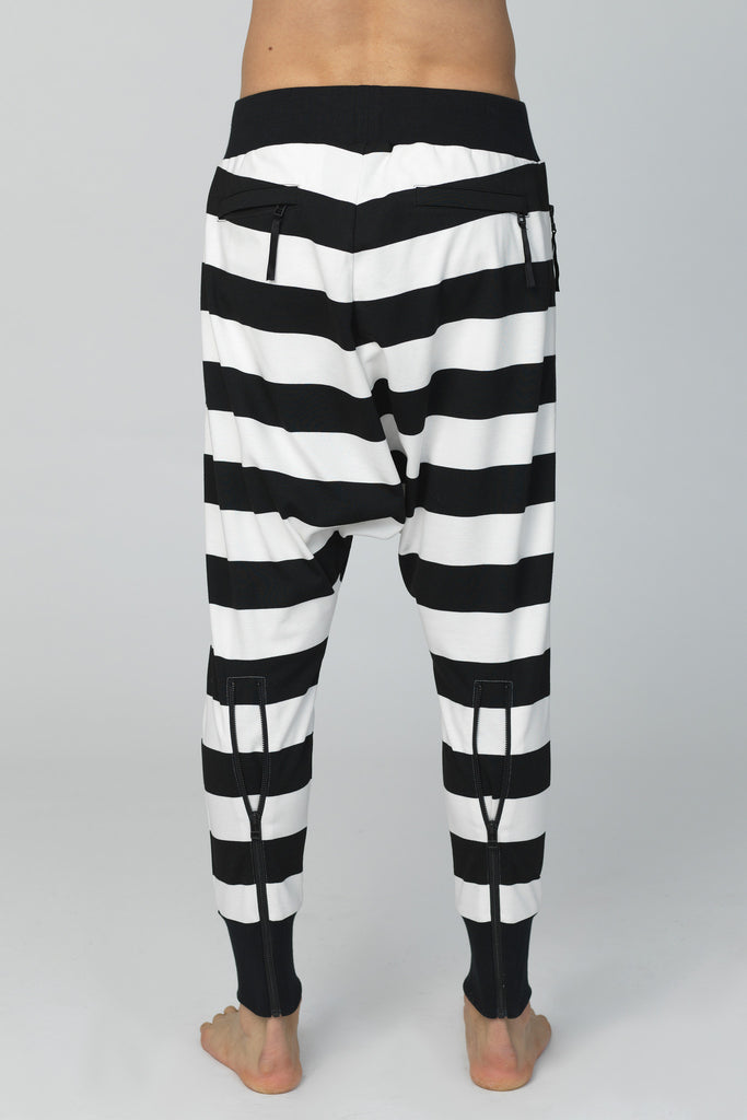 UNCONDITIONAL Black & Ivory striped drop crotch trousers : black back zips & double zip pockets.
