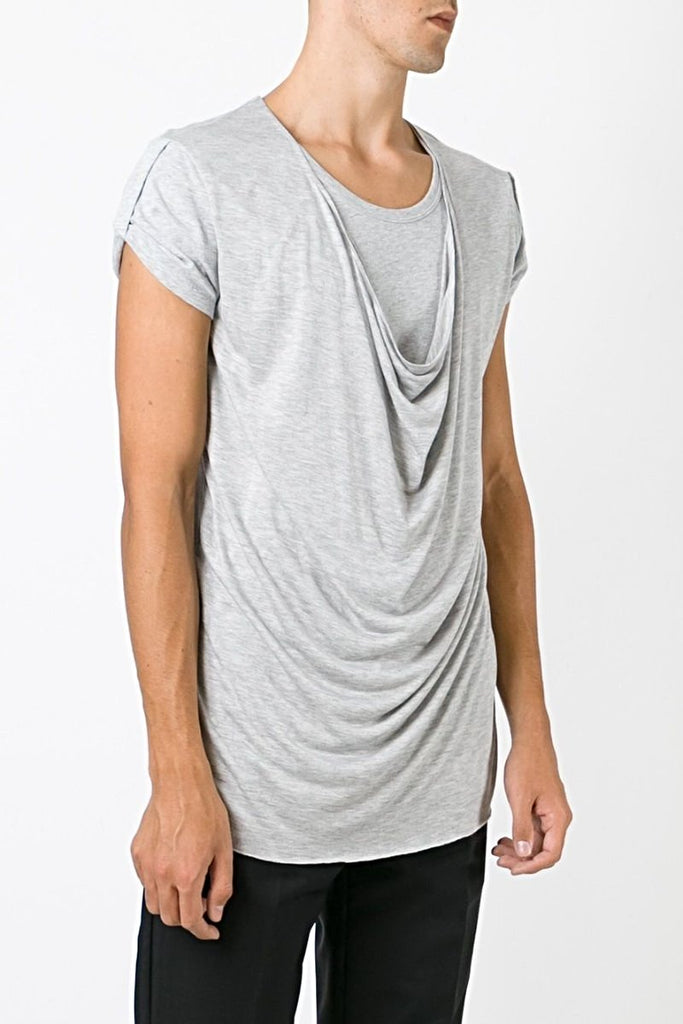 UNCONDITIONAL Flannel grey Double Front Drape Crew Neck T-Shirt