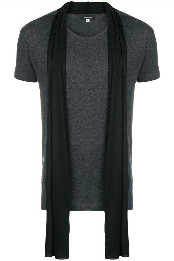 UNCONDITIONAL AW18 Dark grey| black scarf T-shirt