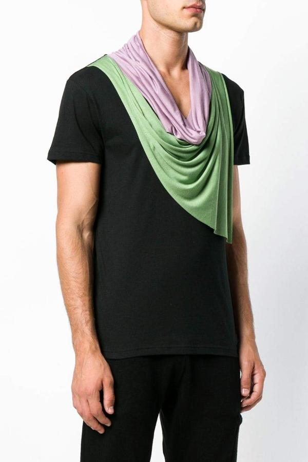 UNCONDITIONAL Black / lilac/ leaf double drape neckerchief T-shirt