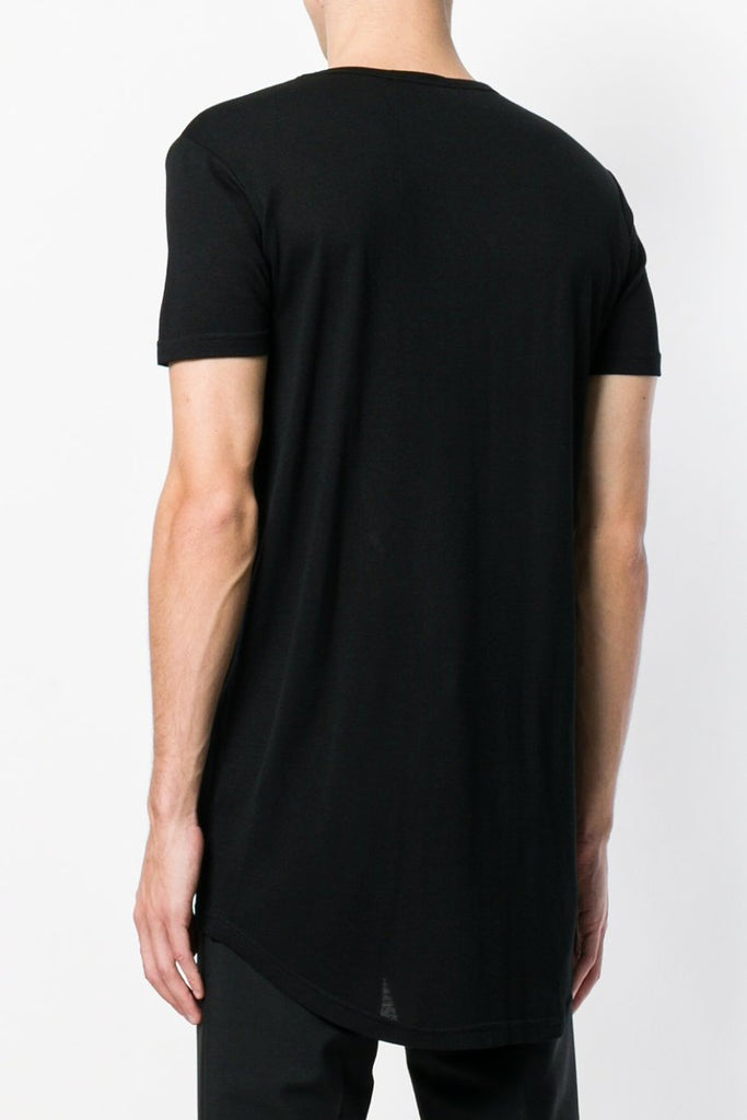 UNCONDITIONAL SS19 Black CREW NECK ZIP TAIL T-SHIRT.