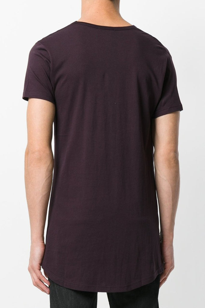 UNCONDITIONAL Grape V-neck tail T shirt with shoulder pleat