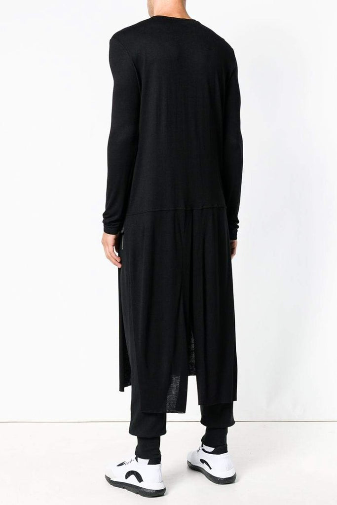 4075afe7b82 ... UNCONDITIONAL SS19 Black full length long-sleeved tail T-shirt with side  splits ...