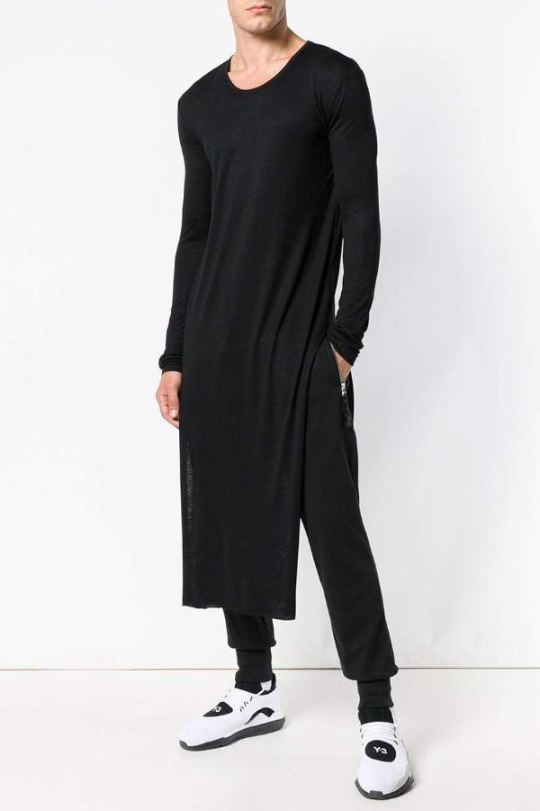 UNCONDITIONAL SS19 Black full length long-sleeved tail T-shirt with side splits
