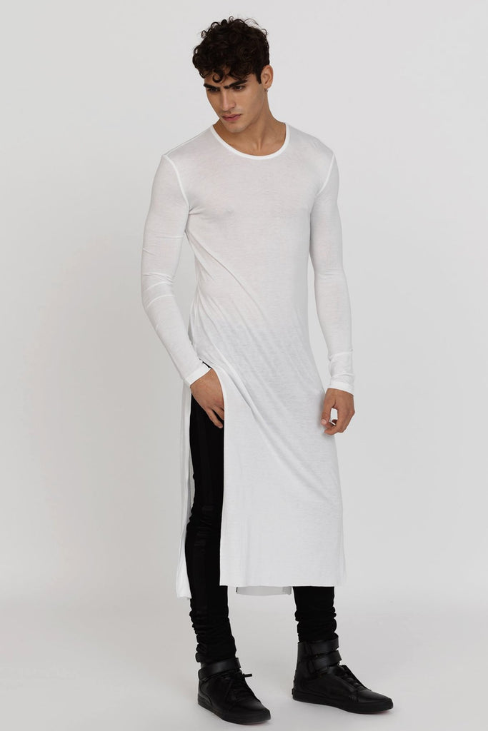 UNCONDITIONAL AW18 White full length long-sleeve tail T with black back stripe