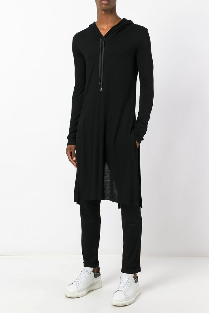 UNCONDITIONAL Black long sleeved hooded tail T-shirt