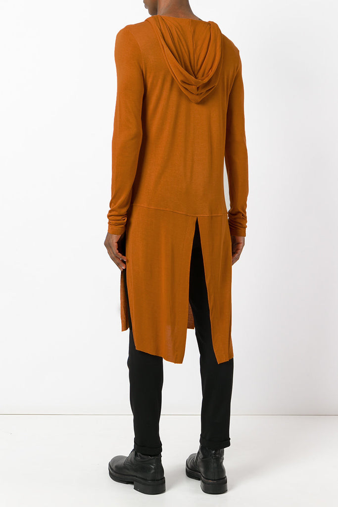 UNCONDITIONAL Burnt Gold elongated long sleeved hooded tail T-shirt