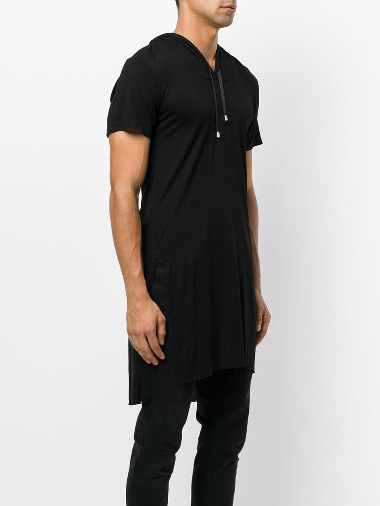 UNCONDITIONAL AW18 Black Heavy Rayon Short sleeved hooded tail T-shirt