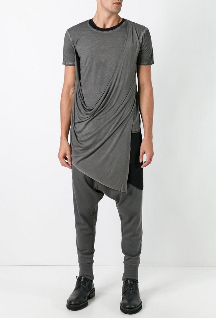 UNCONDITIONAL SS18 Military Cold dye asymmetric drape double front t-shirt.