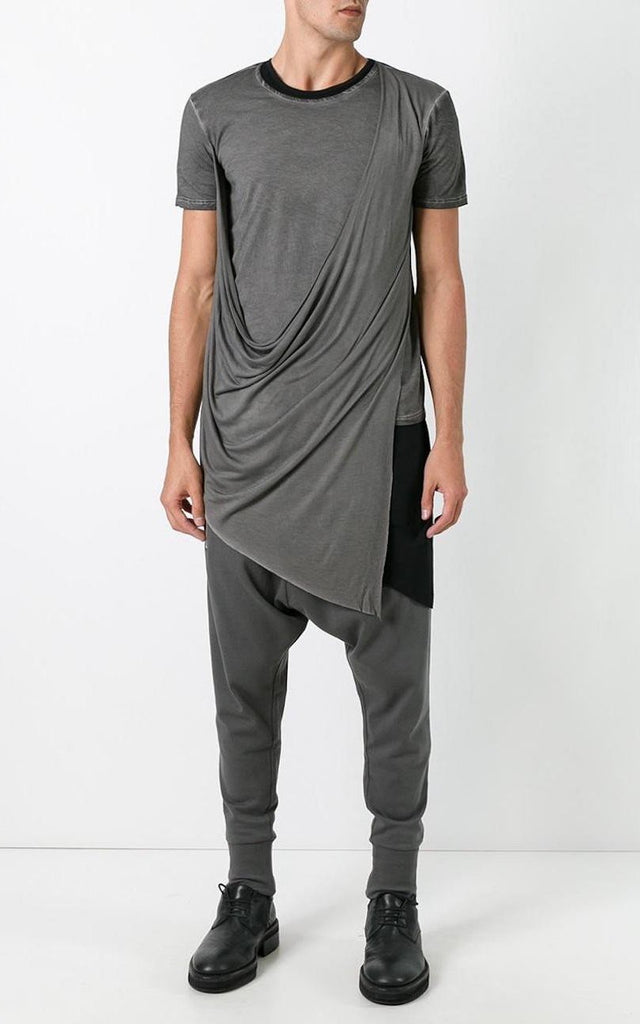 UNCONDITIONAL Cold dye short sleeve asymmetric drape double front t-shirt.