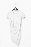 UNCONDITIONAL White short sleeve asymmetric drape double front t-shirt.