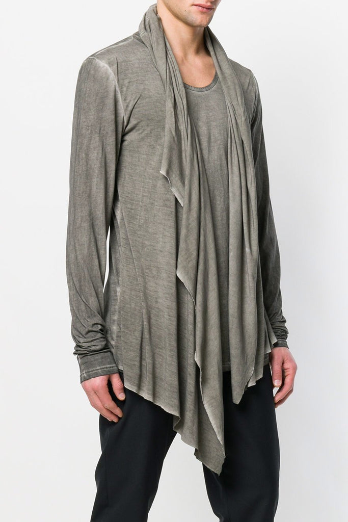 UNCONDITIONAL SS18 L/S Military Cold dye hooded, cape, drape waistcoat T-shirt