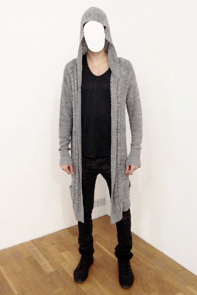 UNCONDITIONAL AW18 Grey tape yarn drop front hooded cable pocket cardigan