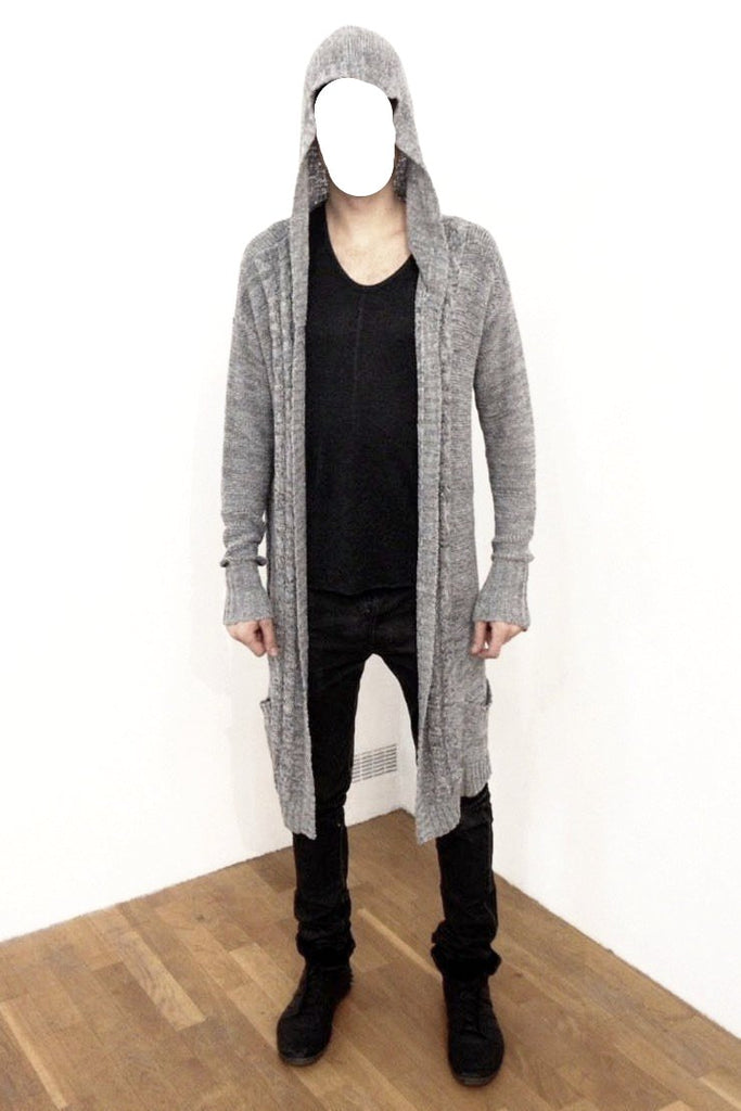 UNCONDITIONAL BLACK tape yarn drop front hooded cable pocket cardigan