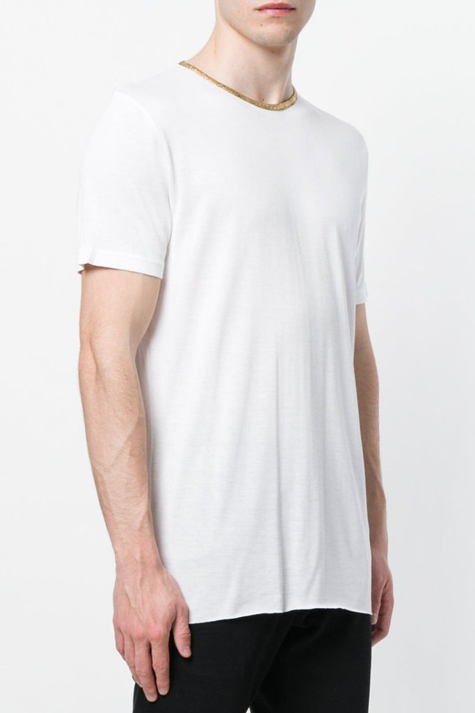UNCONDITIONAL SS19 White rayon T with gold contrast binding