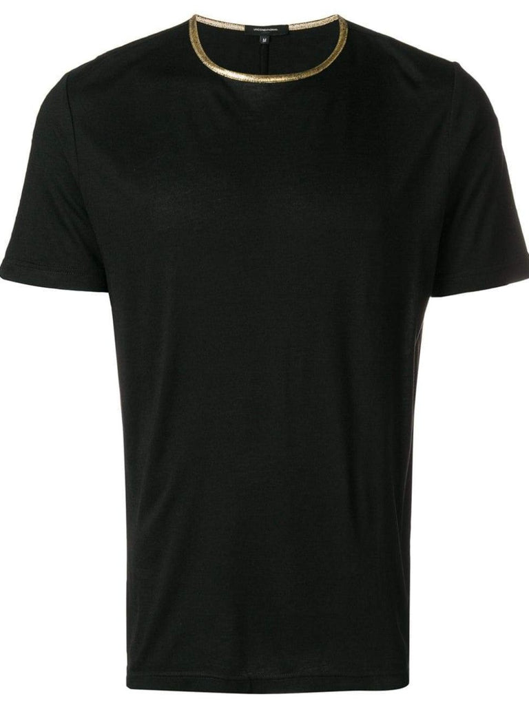 UNCONDITIONAL AW18 Black crew neck T with gold contrast neck rib