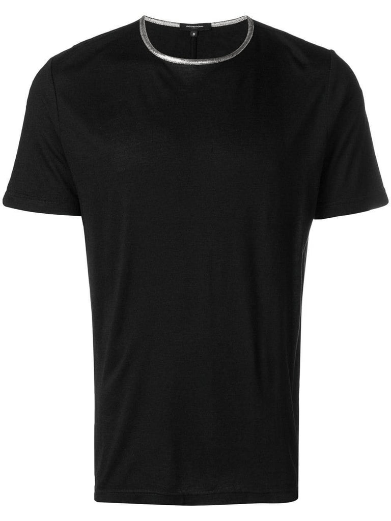UNCONDITIONAL SS19 Black crew neck T with Silver contrast neck rib