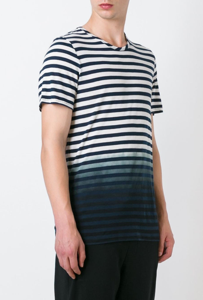 UNCONDITIONAL Navy and off white stripe T-Shirt  with bottom black dipdye