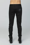 unconditional black panelled back zip denim slim fit skinny jeans